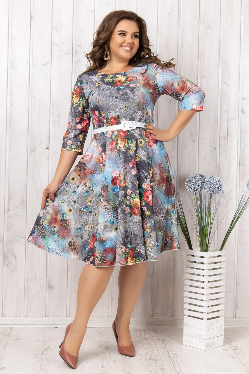 Цветочное платье с тонким поясом (52)