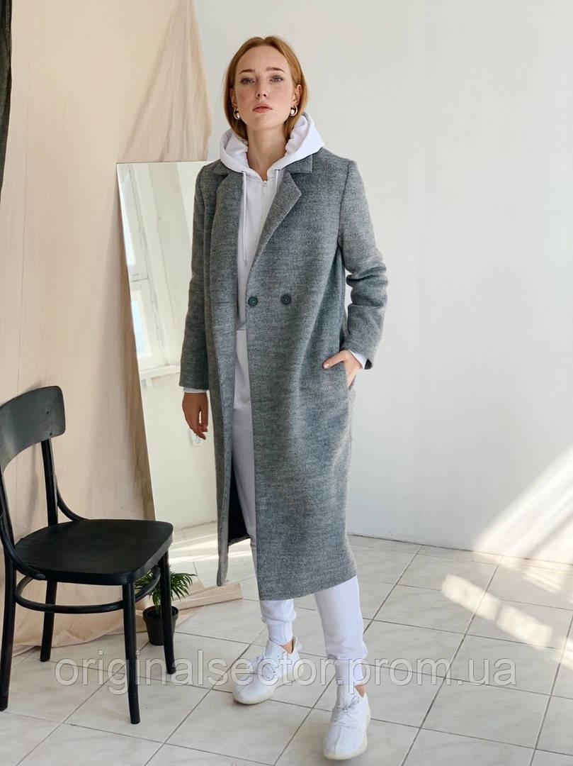 Женское шерстяное пальто на две пуговицы