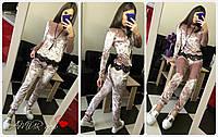 Велюровый костюм кофта бомпер + штаны велюр муар + кружево, фото 1