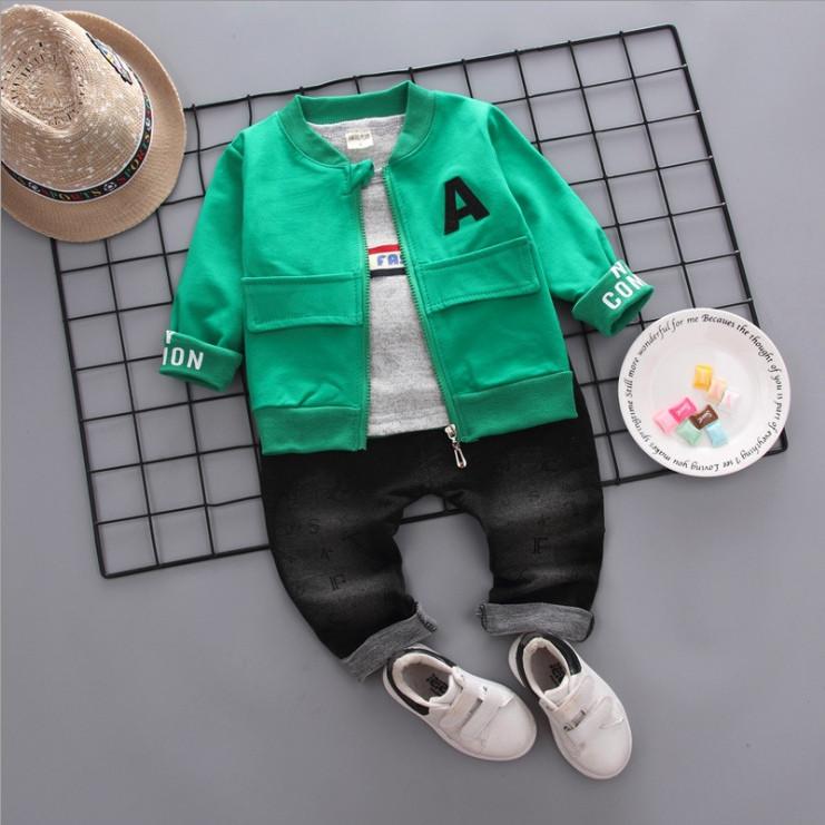 Стильный  костюм тройка на мальчика весна-осень зеленый 1-4 года