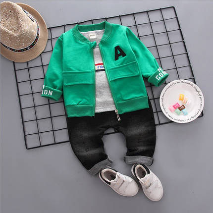 Стильный  костюм тройка на мальчика весна-осень зеленый 1-4 года, фото 2