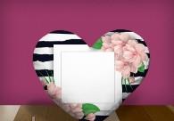 "Печать на подушке сердце ""Flowers"""