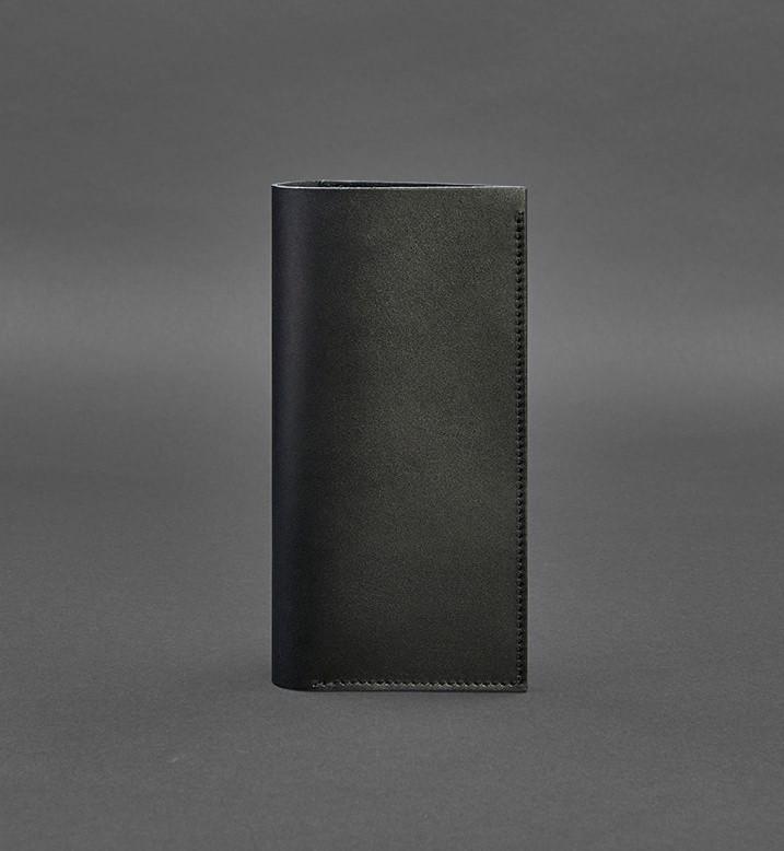 Кошелек кожаный, холдер для документов, тревел кейс черный (ручная работа)
