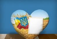 """Печать на подушке сердце """"Ukraine"""""""