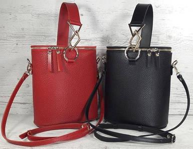 Bucket bag на молнии (bucketbag , сумка-цилиндр, сумка-ведро) из натуральной кожи