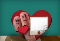 "Печать на подушке сердце ""Love you"""