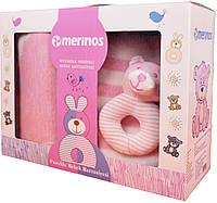 """Плед детский с игрушкой, """"Merinos"""", """"Детство"""", Розовый, 100х120см."""