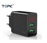 Мережевий зарядний пристрій TOPK B249 зі світлодіодним дисплеєм 2USB Black