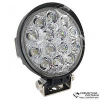 42W / 30 (14X3W / узкий луч, круглый корпус) 3000 LM LED фара рабочая круглая 42W, 14 ламп, 10-30V, 6000K, фото 1