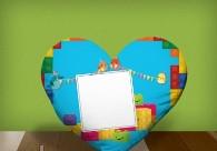 "Печать на подушке сердце ""LEGO"""