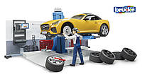Игровой набор Bruder авто-мастерская с машинкой и фигуркой (62110)