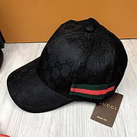 Стильная бейсболка Gucci Web GG черная унисекс хлопковая мужская женская кепка коттон Гуччи люкс реплика