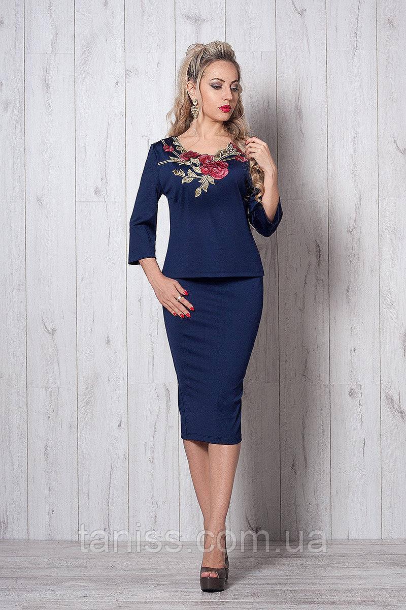Шикарный нарядный деловой костюм, юбочный, трикотаж дайвинг, вышивка р. 50-52 темно-синий (507)
