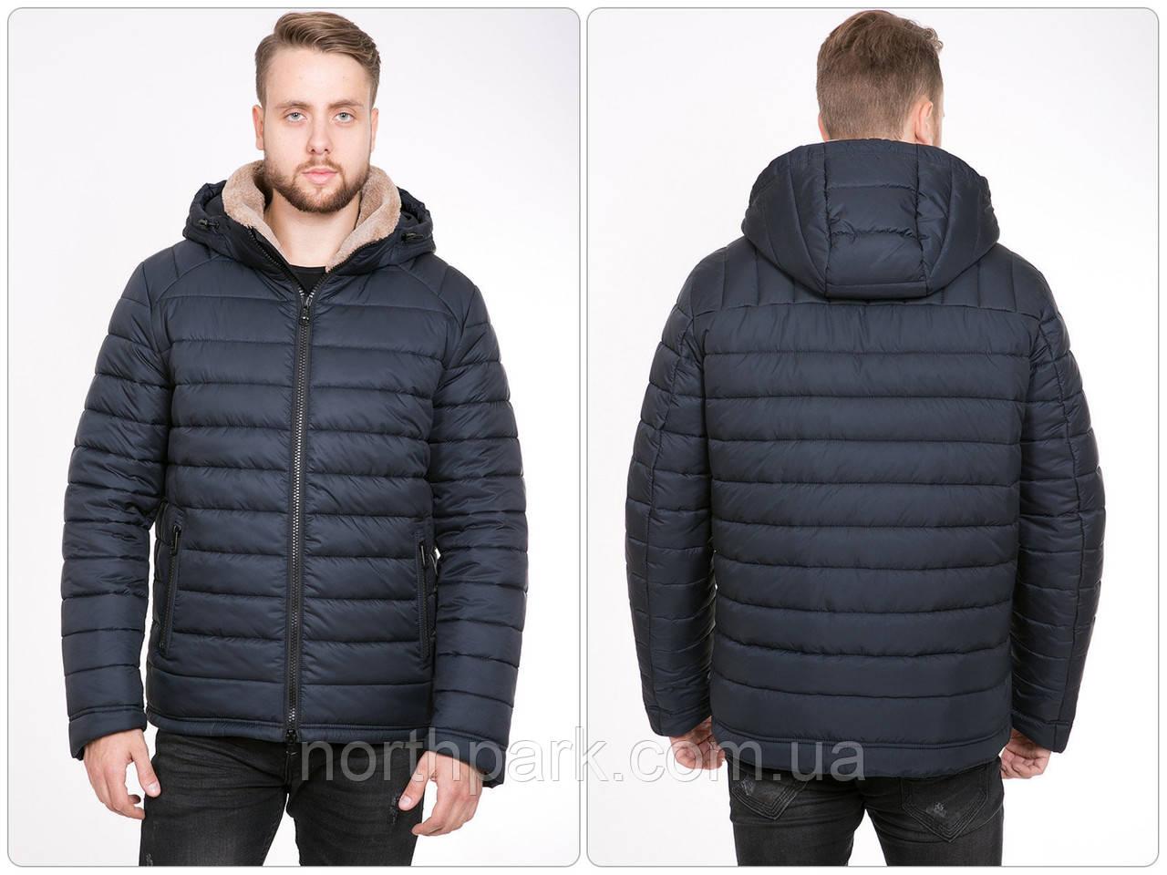 Класична чоловіча зимова куртка з хутряним коміром, темно-синя, розмір 48