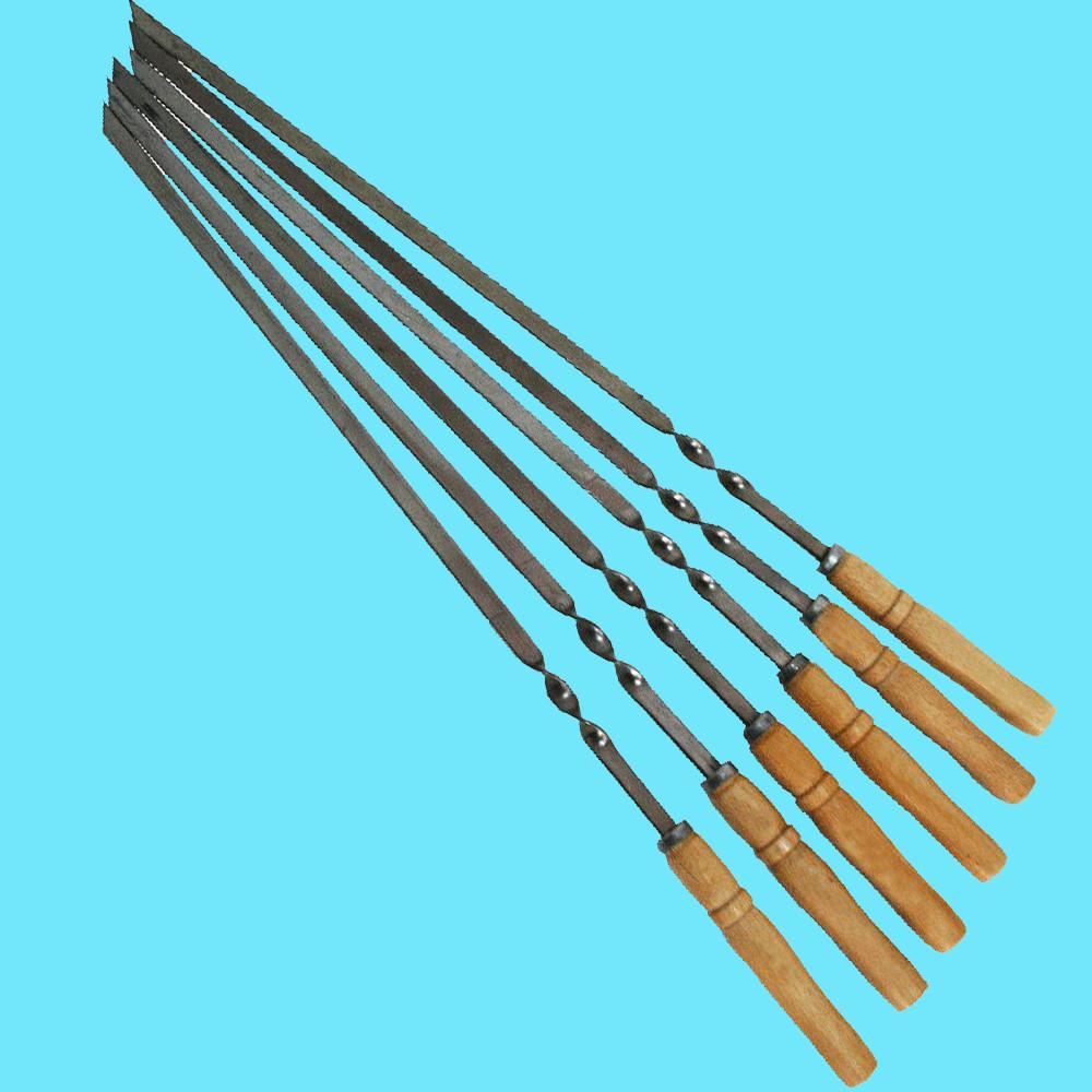 Набор шампуров с деревянной ручкой 6 шт Плоский 600х10х2 мм