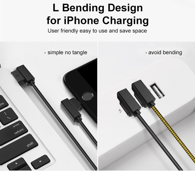 Rock Dual-end L-shape Data Cable Lightning