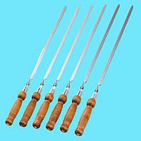 Набор шампуров с деревянной ручкой 6 шт Плоский Лак 700х13х3 мм