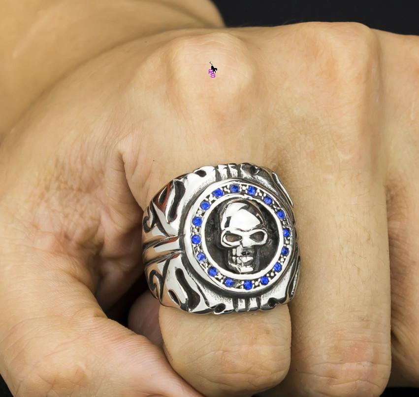 Мужественный большой перстень с черепом 16206