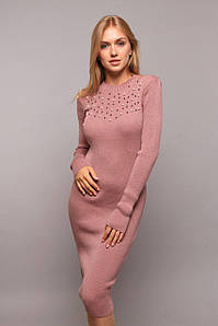 Платье миди осень с жемчужинами универсал 44-54