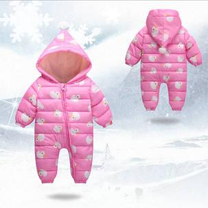Комбинезон детский на девочку весна-осень   розовый 9мес.-3 года Уточки, фото 2