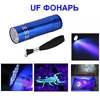 УФ фонарик из алюминиевого сплава. Ультрафиолетовый свет. Детектор пятен.UF Flasglight. Питание 3хААА. Синий