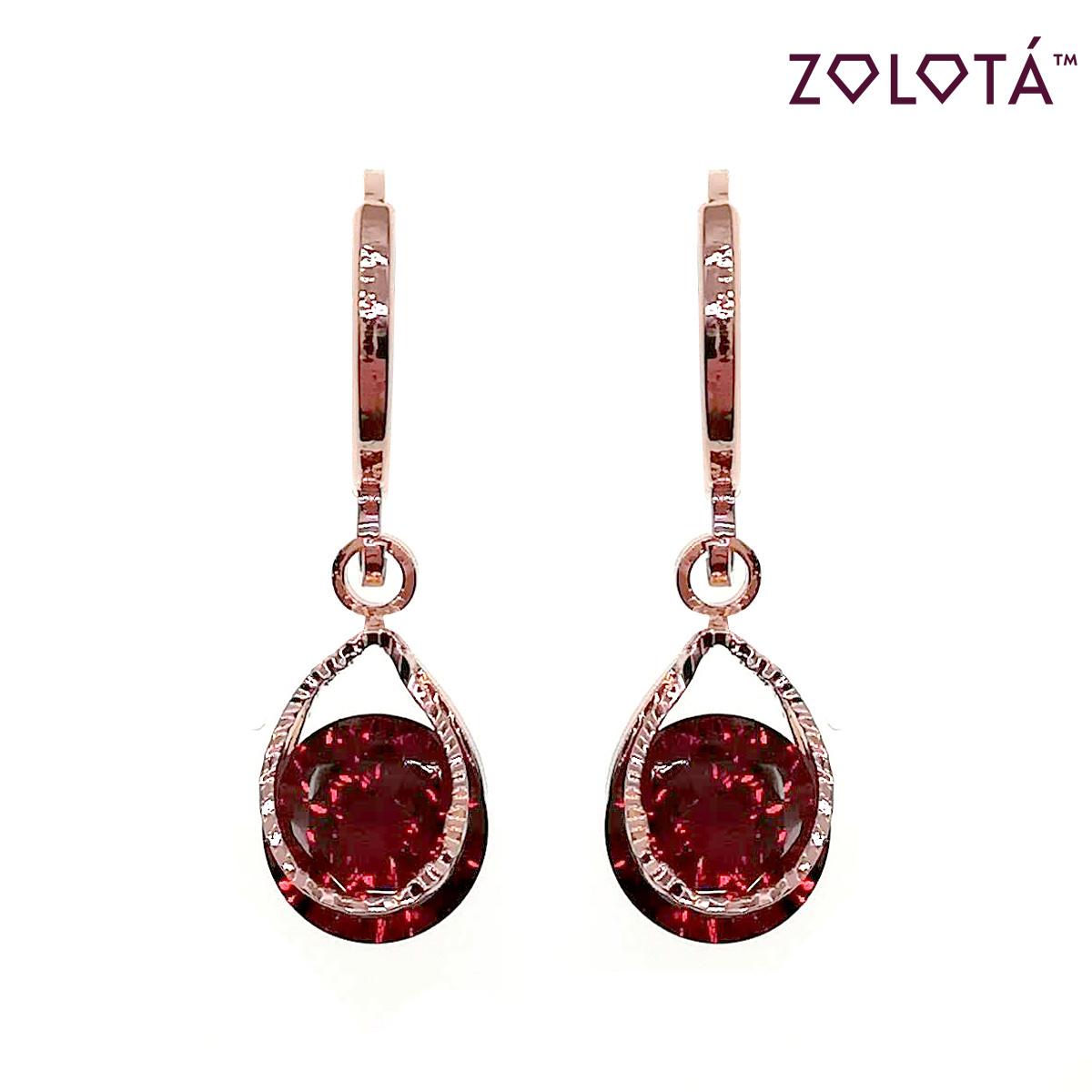 Серьги Zolota с темно-красными фианитами (куб. цирконием), из медицинского золота, в позолоте, ЗЛ00593 (1)