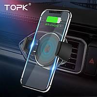 Беспроводное автомобильное зарядное устройство Topk 10W Black Quick Charge QC3.0 (B47W), фото 1