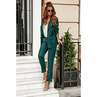 Брючный стильный костюм женский №41717 зеленый, фото 1