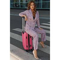 Брючный стильный костюм женский клетчатый 41556 розовый, фото 1