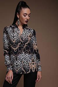GLEM Леопард-цепи блуза Эльвира д/р