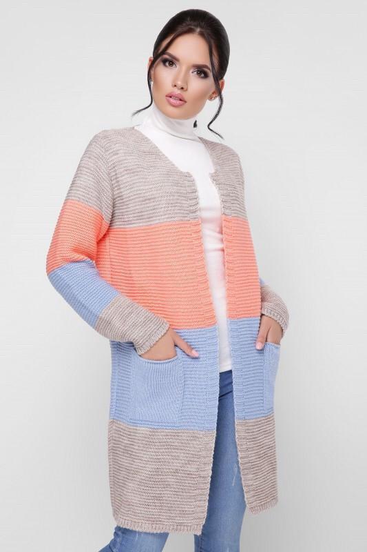 Кардиган женский вязанный четырехцветный универсал