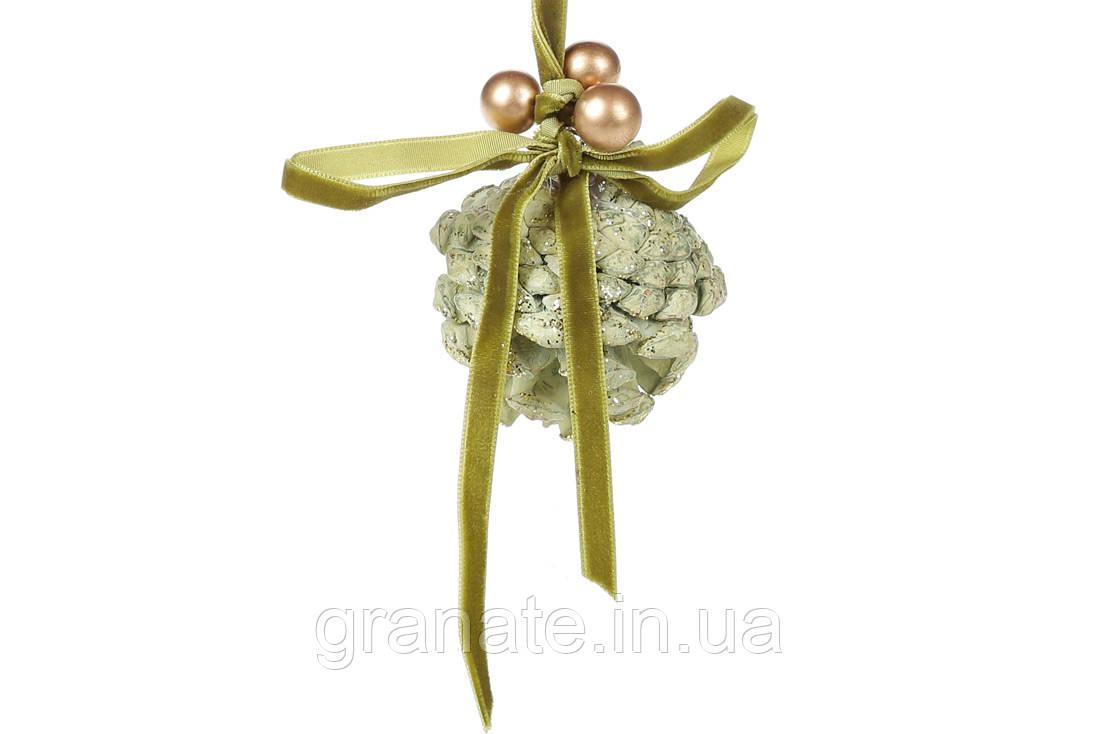 Новогоднее украшение, подвесной декор Шишка 15см, цвет - зеленый (48шт)
