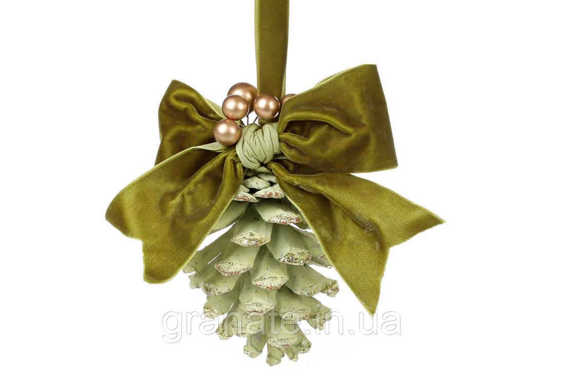 Новогоднее украшение, подвесной декор Шишка 25см, цвет - зеленый (24шт)