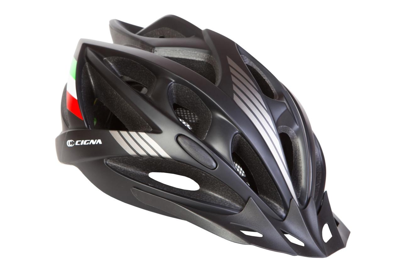 Шлем велосипедный с козырьком СIGNA WT-036 М (54-57 см) (черный)