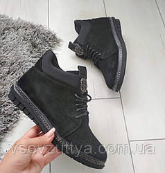 Черевики жіночі чорні екозамша без каблука