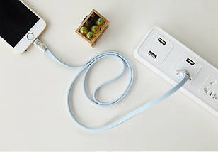 Кабель Lightning Rock Zodiac Monkey для зарядки и передачи данных, плоский RCB0463 (Голубой, 1м), фото 2