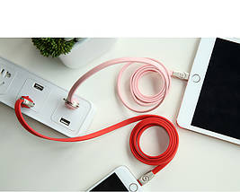Кабель Micro USB Rock Zodiac Pig для зарядки и передачи данных, плоский RCB0523 (Розовый, 1м), фото 2