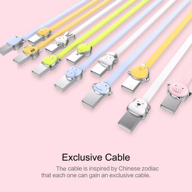 Кабель Micro USB Rock Zodiac Pig для зарядки и передачи данных, плоский RCB0523 (Розовый, 1м)