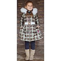 Детское теплое пальто с юбкой