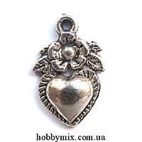 """Метал. подвеска """"сердечная клубничка"""" серебро (1,1х1,8 см) 15 шт в уп."""