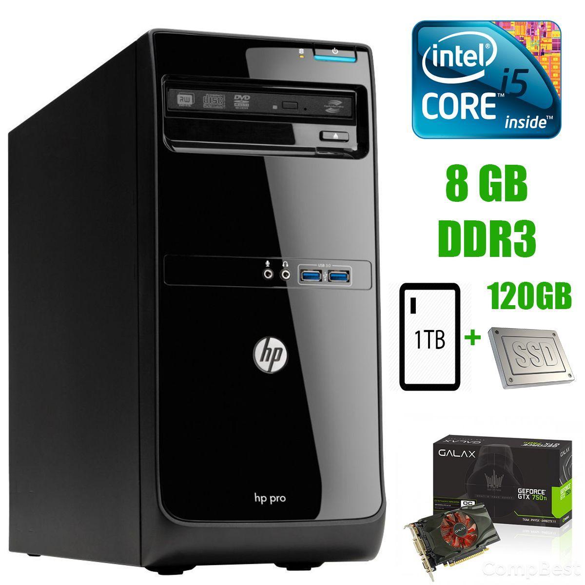 HP Pro 3400 Tower / Intel Core i5-2500 (4 ядра по 3.3 - 3.5 GHz) / 8 GB DDR3 / new! 120 GB SSD+1 TB HDD / nVidia GeForce GTX 750 Ti 2GB GDDR5 128-bit