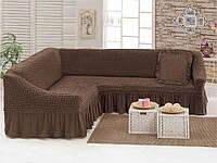 Чехол для мебели (диван угловой с подушкой) коричневый (9)