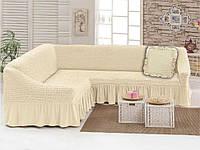 Чехол для мебели (диван угловой с подушкой) кремовый (1)
