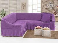 Чехол для мебели (диван угловой с подушкой) лиловый (29)