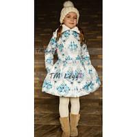 Детское теплое пальто с юбкой с искусственным мутоном