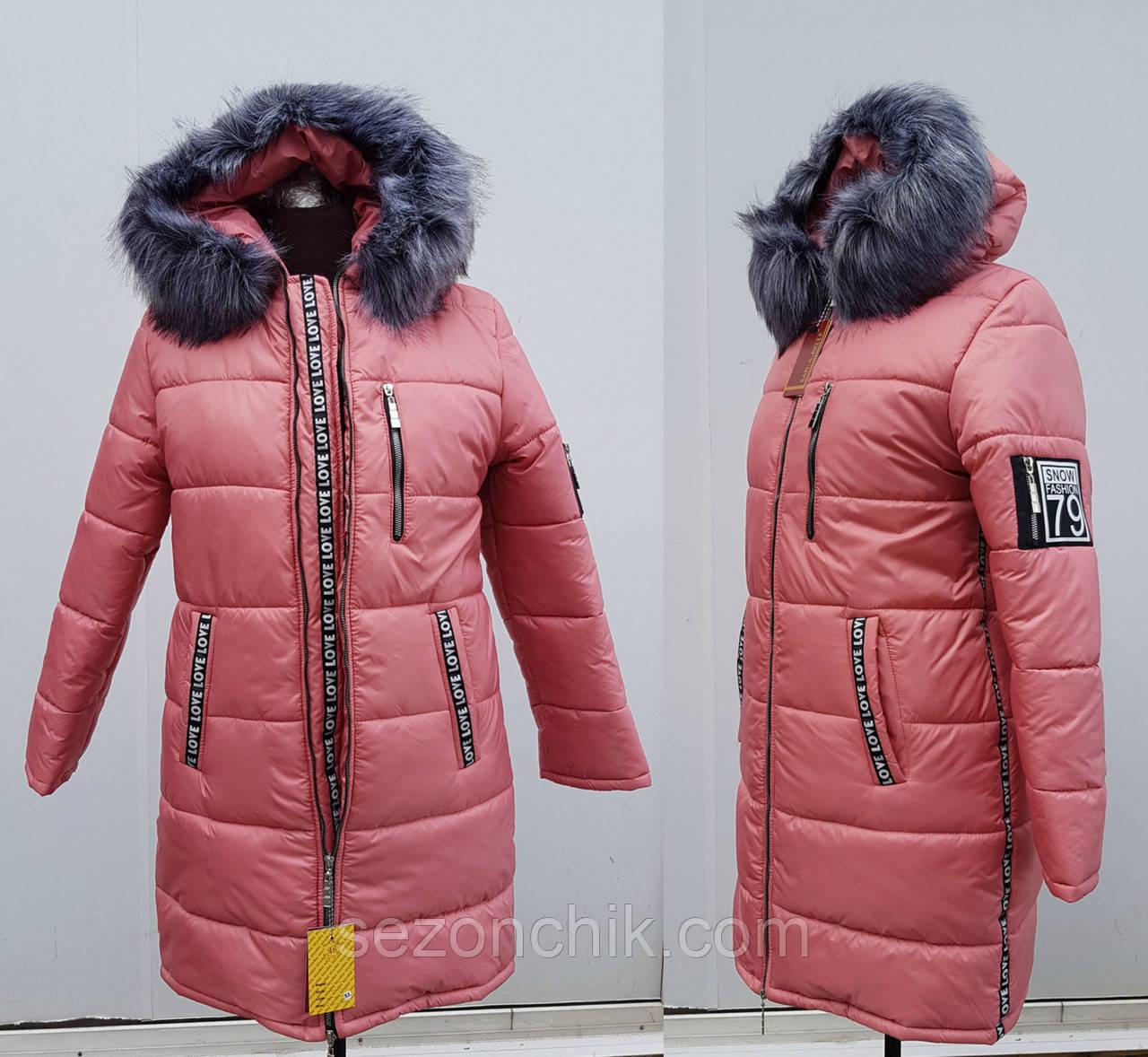 Зимние модные женские пуховики с мехом