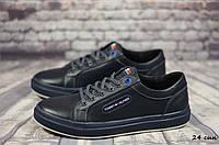 Мужские кожаные кеды, кроссовки Tommy Hilfiger  (Реплика) (Код:  24 син   ) ► Размеры [40,41,42,43,44,45], фото 1