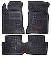 Коврики в салон Ford Mondeo V 2012 - черные, полиуретановые (Avto-Gumm 11486) - комплект (4 шт.) + перемычка