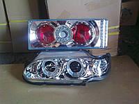 Передние фары Ангельские глазки + задние фонари №3 на ВАЗ 2114