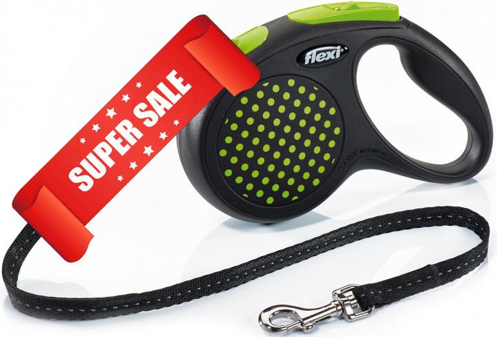Поводок-рулетка Flexi Design M, 5 м, трос, зеленый